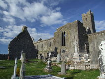 Cathedral ruins. 12th century cathedral ruins with very old cemetry in foreground in west of Ireland Royalty Free Stock Photography