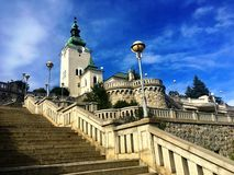 Cathedral of Ruzomberok old town. Slovakia stock image