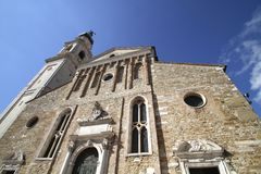 Cathedral's belfry in Belluno stock photo