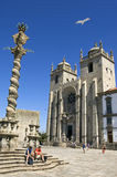 Cathedral Sé do Porto and tourists, Portugal Stock Photography