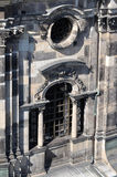 Cathedral's window, dresden. Detail of a window in the lateral upper part of the cathedral dresden , the church has been completely rebuilt after second world Stock Images