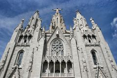 Cathedral Sacred Heart on mountain Tibidabo Royalty Free Stock Photography