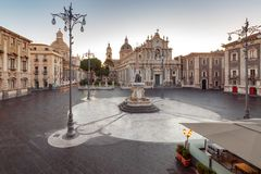 Catania. Cathedral of St. Agatha. Cathedral of Saint Agatha in the night lighting. Italy. Catania Sicily stock photos