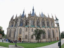 Cathedral of Saint Barbara. Side view from Saint Barbara's Church in the style of Cathedral taken with fish-eye lens (Kutna Hora, Czech Republic Royalty Free Stock Image