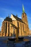 Cathedral of Saint Bartholomew, old architecture, Pilsen, Czech Republic Royalty Free Stock Photos