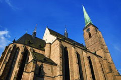 Cathedral of Saint Bartholomew, old architecture, Pilsen, Czech Republic Royalty Free Stock Photo