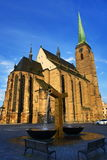 Cathedral of Saint Bartholomew, old architecture, Pilsen, Czech Republic Royalty Free Stock Photos