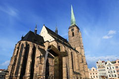Cathedral of Saint Bartholomew, old architecture, Pilsen, Czech Republic Royalty Free Stock Photography