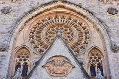 Cathedral Saint Bartholomew in town Soller,Mallorca island. Cathedral Saint Bartholomew in town Soller stock images