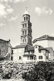 Cathedral of Saint Domnius in Split, Croatia, colorless Royalty Free Stock Images