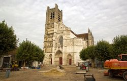 Cathedral Saint Etienne, renovation Auxerre France Stock Images