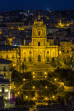 Cathedral of Saint George. Night view of the Cathedral of Saint George in Modicasymbolic monument of Sicilian Baroque Royalty Free Stock Photos
