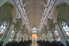 Cathedral of Saint John the Baptist interior, Charleston. Interior wide angle shot of the Cathedral of St. John the Baptist in Charleston, South Carolina Royalty Free Stock Photography