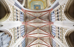 Cathedral Saint John Den Bosch. DEN BOSCH - FEBRUARY 25: Colorful ceiling in a symmetrical composition in the gothic medieval cathedral of Saint John, with the Royalty Free Stock Photo