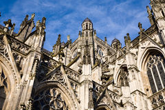 Cathedral Saint John Den Bosch. Symmetrical composition against a deep blue sky of the gothic medieval cathedral of Saint John, one of the top attractions of Den Stock Image