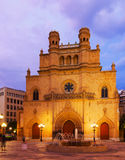 Cathedral of Saint Mary at Castellon de la Plana in evening Royalty Free Stock Photos