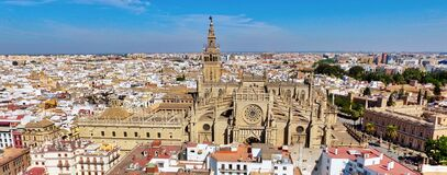Sevilla in Spain and The Cathedral of Saint Mary of the See.