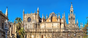 Cathedral of Saint Mary of the See. Seville, Spain. Beautiful Gothic building of the Cathedral of Saint Mary of the See (Seville Cathedral) on sunny day royalty free stock photography