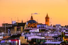 Panorama of Sevilla Spain view Catedral de Sevilla Seville Cathedral royalty free stock images