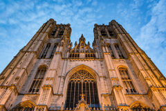 Cathedral of Saint Michael and Saint Gudula in Brussels at sunset Royalty Free Stock Images