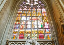 Stained glasses in Cathedral of St. Michael and St. Gudula, Brussels, Belgium stock photo