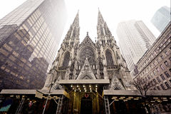 Cathedral of Saint Patrick in blizzard Royalty Free Stock Image
