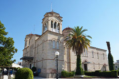 The cathedral of  Saint Peter (Agios Petros ) in Argos ,Peloponnesse. The cathedral of  Saint Peter (Agios Petros ), dedicated to Saint Peter the Wonderworker Royalty Free Stock Image