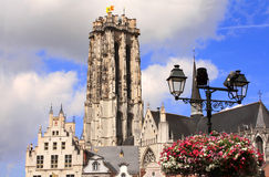 Cathedral of saint Rumbold on Main square, Mechelen, Belgium Royalty Free Stock Image
