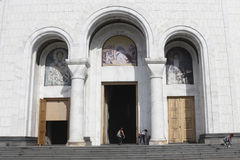 Cathedral of Saint Sava entrance with frescos. Belgrade, Serbia Stock Image