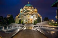 Cathedral of Saint Sava at night in Belgrade Royalty Free Stock Photo