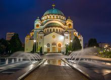 Cathedral of Saint Sava at night in Belgrade Royalty Free Stock Photography