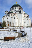 Cathedral of Saint Sava at winter Royalty Free Stock Photography