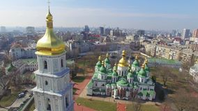Cathedral of Saint Sophia aerial view. stock video