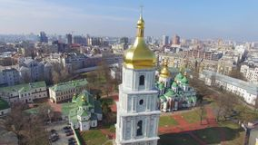 Cathedral of Saint Sophia aerial view. stock video footage