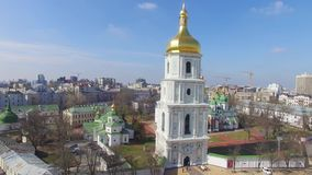 Cathedral of Saint Sophia aerial view in spring. stock footage