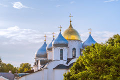 Cathedral of Saint Sophia in Veliky Novgorod, Russia - closeup view of domes in sunlight Royalty Free Stock Images