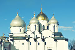 Cathedral of Saint Sophia in Veliky Novgorod, Russia - closeup view of domes in sunlight Royalty Free Stock Photo