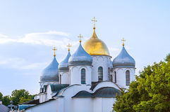 Cathedral of Saint Sophia in Veliky Novgorod, Russia - detailed closeup view of domes in sunny weather Royalty Free Stock Image