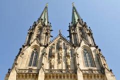 Cathedral Saint Venceslas Olomouc,Czech. Saint Wenceslas Cathedral (Czech language: Katedrála svatého Václava) is a neo-gothic cathedral at Wenceslas square Royalty Free Stock Photos