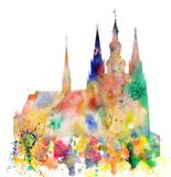 Cathedral of Saint Vitus in the Prague Castle Watercolor Art Stock Photo
