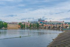 Cathedral of Saint Vitus. View of the Cathedral of Saint Vitus, the Vltava River, Prague, Czech Republic Stock Photo