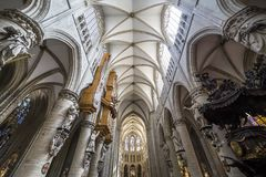 Cathedral Saints-Michel-et-Gudule de Bruxelles, Belgium. Interiors, paintings and details of Cathedral Saints-Michel-et-Gudule de Bruxelles , Belgium Stock Photography