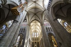 Cathedral Saints-Michel-et-Gudule de Bruxelles, Belgium. Interiors, paintings and details of Cathedral Saints-Michel-et-Gudule de Bruxelles , Belgium royalty free stock photography