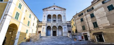 Massa. Saint Peter and Francis cathedral Duomo. Massa-Carrara. Tuscany. Italy. The Cathedral of Saints Peter and Francis is the most important Catholic church of stock images