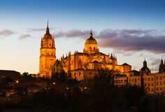 Cathedral of Salamanca in dusk Royalty Free Stock Photos