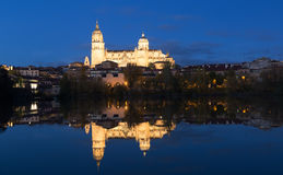 Cathedral of Salamanca in night Stock Photography