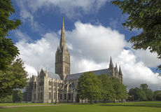 Cathedral of Salisbury on a summer's day Royalty Free Stock Images
