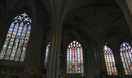 Cathedral (Salvatorskerk) by stained glass Royalty Free Stock Photography