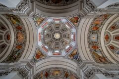 Salzburg Cathedral Dom zu Salzburg in spring, Austria. The cathedral of Salzburg dominates the image of the old town with its striking, two-towered façade and royalty free stock photos