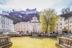 Salzburg Cathedral Dom zu Salzburg in spring, Austria. The cathedral of Salzburg dominates the image of the old town with its striking, two-towered façade and stock photos